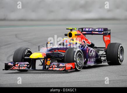 Mark Webber (AUS) , Red Bull Racing RB9 during Formula One tests on Circuit de Catalunya racetrack near Barcelona, - Stock Photo