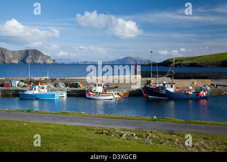 Fishing Boats at Purteen Harbour, Achill Island, County Mayo, Ireland. - Stock Photo