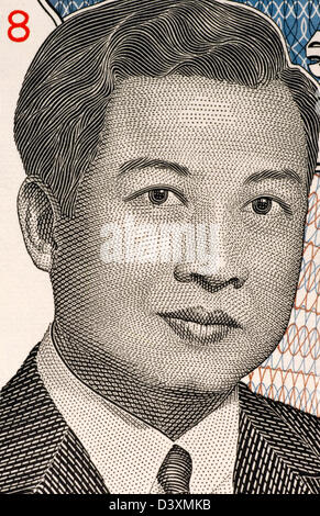 Norodom Sihanouk (1922-2012) on 2000 Riels Banknote from Cambodia. King of Cambodia during 1941-1955 and 1993-2004. - Stock Photo