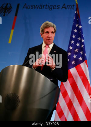 Berlin, Germany.  26 February 2013. Press statements after the meeting between the U.S. Secretary of state John Kerry and the German Foreign Minister Guido Westerwelle in Berlin. On Picture: John Kerry, U.S. Secretary of state Credit:  Reynaldo Chaib Paganelli / Alamy Live News