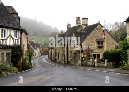 Main street in Castle-Combe,Wiltshire - Stock Photo