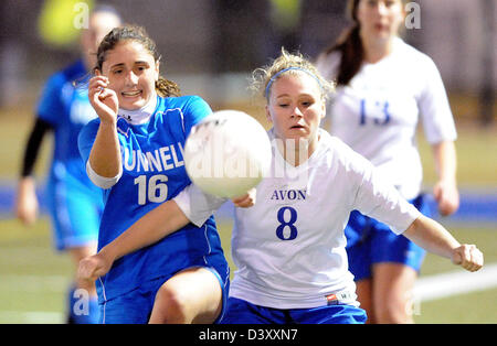 High School girls soccer action in CT USA - Stock Photo