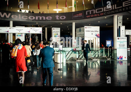 Barcelona, Spain. 26th Febraury 2013: About 70,000 visitors attend the Mobile World Congress 2013 at it's new home - Stock Photo