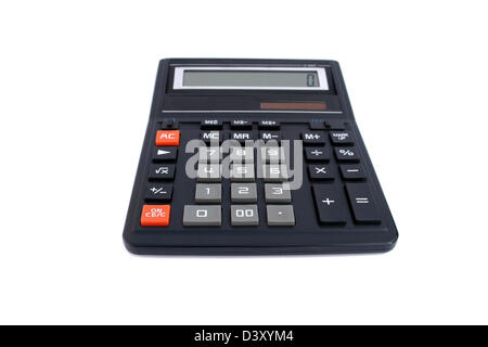 Isolated big black office calculator - Stock Photo