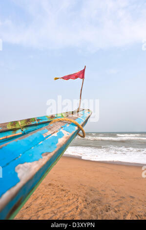 Small flag on the bow of a fishing boat, Puri, Orissa, India - Stock Photo