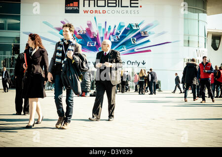 Barcelona, Spain. 26th Febraury 2013: About 70,000 visitors attend the Mobile World Congress 2013.Credit: Matthi/Alamy - Stock Photo