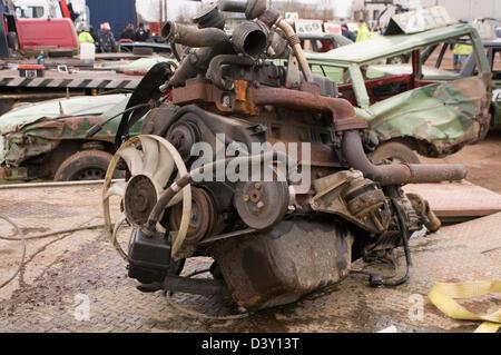 scrap engine car cars engines metal old junk scrapyard scrapyards junkyard junkyards recycled recycling - Stock Photo