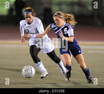 Girls high school soccer action in CT USA - Stock Photo