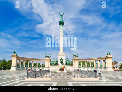 The Millennium monument, with archangel Gabriel on top, Heroes' Square, Hosok tere, Budapest, Hungary, Europe, EU - Stock Photo