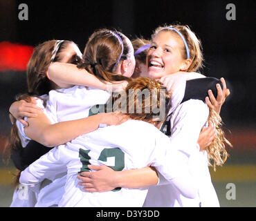 High school girl's soccer action in CT USA - Stock Photo