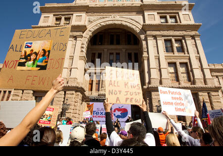 Large group at Texas Capitol building during the Save Texas Schools Rally. Citizens concerned over education under - Stock Photo