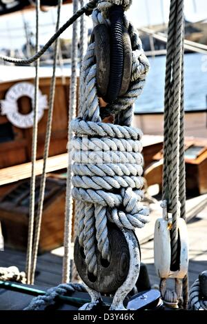 Tall Ship Rigging, Ropes and Blocks in Selective Focus - Stock Photo