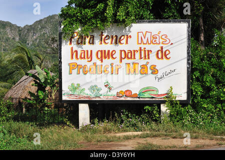 Board with a slogan: 'To have more we need to start to produce more', Pinar del Rio Province, Cuba - Stock Photo