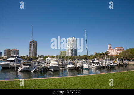 St Petersburg Florida View across North Yacht Basin with expensive moored leisurecraft to Downtown from Vinoy Park - Stock Photo