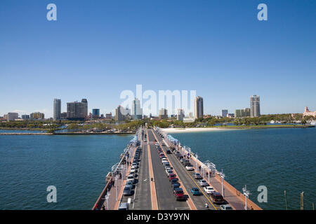 St Petersburg Florida USA View along Pier to Downtown from Observation Deck high above pier on lovely February winters - Stock Photo