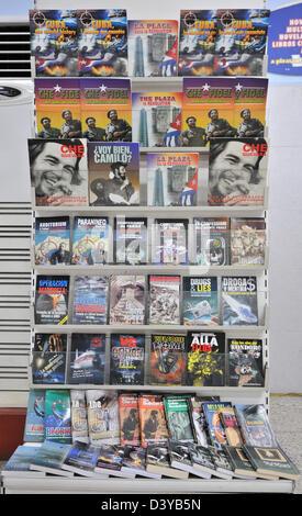 Market stand with propaganda materials, Havana, Cuba - Stock Photo