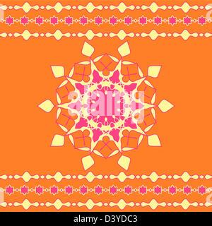 Artistic mandala design with stripes border - Stock Photo