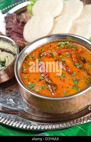 Sambar, lentil dish. Indian food. - Stock Photo