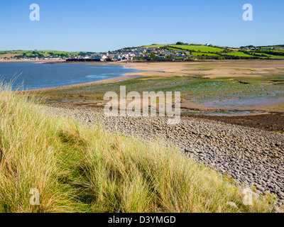 Appledore viewed from Northam Burrows Country Park across the Skern mudflats, Devon, England, United Kingdom. - Stock Photo