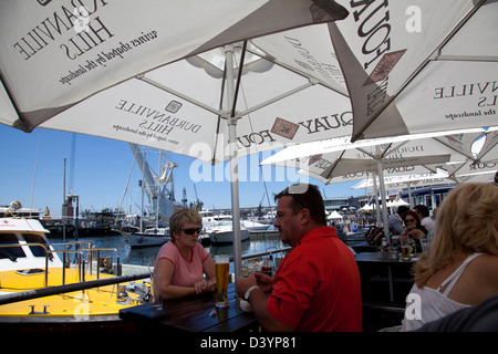 Quay Four Table Diners on waterfront in Cape Town - South Africa - Stock Photo