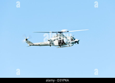 US Marines Bell UH-1Y Venom Helicopter 167994 In Flight Over San Diego California United States America USA - Stock Photo