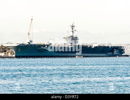 United States Navy Nimitz Class Aircraft Carrier CVN 70 Carl Vinson in Port at San Diego California America USA - Stock Photo
