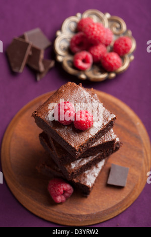 brownies with raspberry - Stock Photo