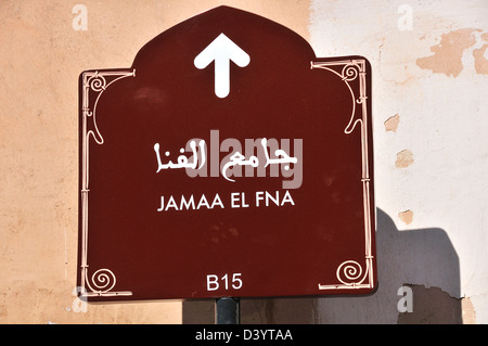 Sign pointing way to Jamaa El Fna the famous square in Marrakesh, Morocco - Stock Photo