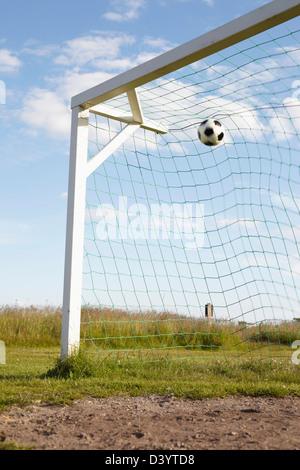 Soccer Net and Soccer Ball, Lysekil, Vastra Gotaland County, Bohuslaen, Gotaland, Sweden