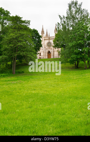 Landscape of the old chapel in the Alexander Park - Stock Photo
