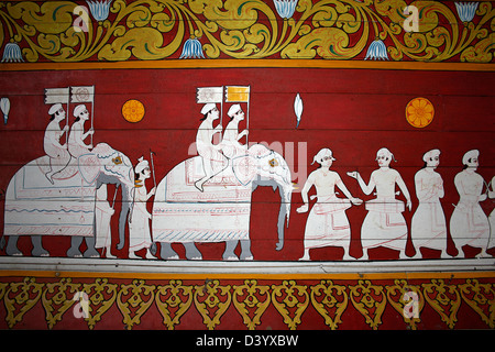 Wall Mural Depicting The Esala Perahera (the festival of the tooth) In Kandy, Sri Lanka - Stock Photo