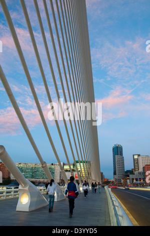 L'Assut d'Or bridge by Santiago Calatrava, night view. City of Arts and Sciences, Valencia, Spain. - Stock Photo