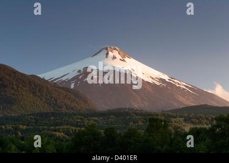 Villarica Volcano seen from near Pucon, Lake District, Chile - Stock Photo