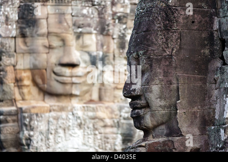Mysterious face statues in Bayon temple, Angkor, Cambodia