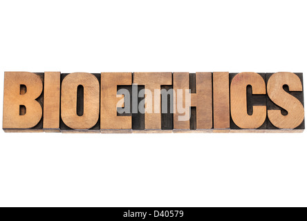 bioethics word - isolated text in vintage letterpress wood type printing blocks - Stock Photo