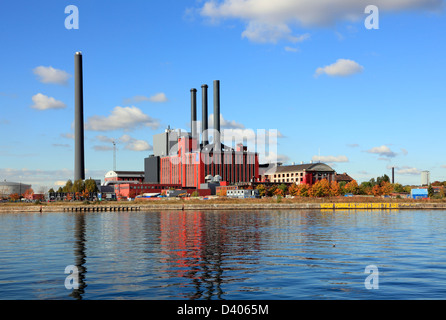 H.C. Ørsted Power Plant (Oersted) in Sydhavnen, South Harbour, Copenhagen. Denmark. A DONG Energy combined heat - Stock Photo
