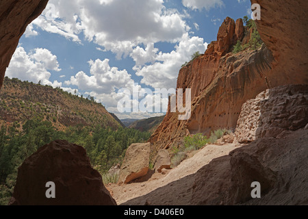 View from Alcove House at Bandelier National Monument - Stock Photo