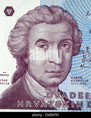Portrait of Ruder Josip Boskovic from 25 Dinara banknotel, Croatia, 1991 - Stock Photo