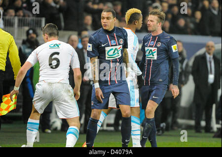 Parc des Princes, Paris, France. 27th February 2013. Football, French Cup. Paris Saint Germain vs Olympique de Marseille - Stock Photo
