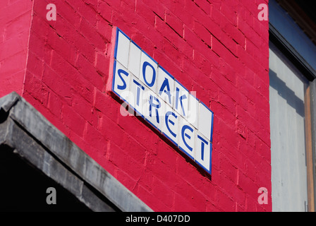 Oak Street sign on the side of Thomas Street Old Post Office building in Manchesters Northern Quarter - the Cultural - Stock Photo