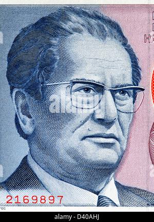 Portrait of Josip Broz Tito from 5000 Dinara banknote, Jugoslavia, 1985 - Stock Photo