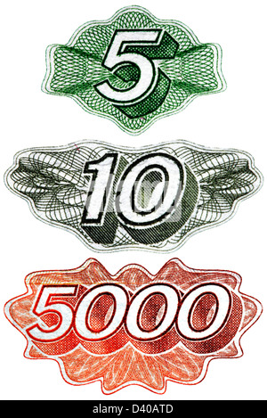 Numbers 5, 10, 5000 from 5, 10, 5000 Rubles banknotes, on white background, Russia - Stock Photo