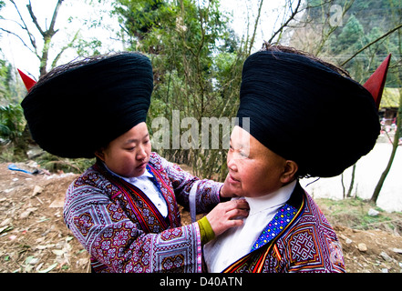 Short horn Miao women in Guizhou, China. - Stock Photo