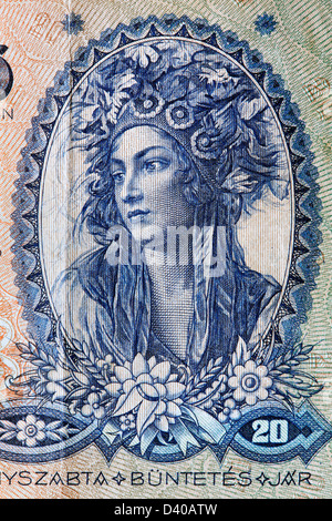 Portrait of Young woman in national costume from 20 Pengo banknote, Hungary, 1941 - Stock Photo