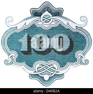 Number 100 from 100 Leva banknote, Bulgaria, 1951, on white background - Stock Photo
