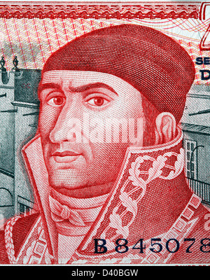 Portrait of Jose Morelos y Pavon from 20 Pesos banknote, Mexico, 1977 - Stock Photo
