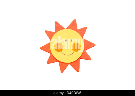 Orange and yellow smiling sun isolated on white. - Stock Photo