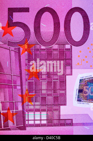500 Euro banknote, Modern architecture, 2002 under UV light - Stock Photo