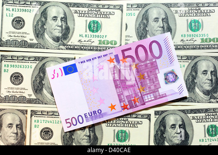 500 Euro banknote and and 100 Dollars banknotes as background - Stock Photo