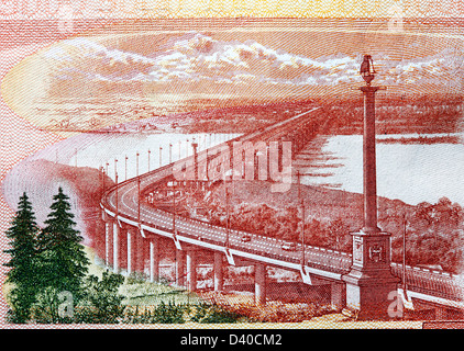 Khabarovsk Bridge over the Amur river from 5000 Rubles banknote, Russia, 2010 - Stock Photo